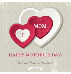 Grey background with two hearts for Mothers Day vector image vector image