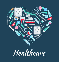 Healthcare medicines heart poster vector