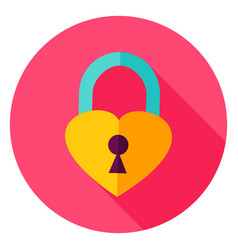 Heart padlock circle icon vector