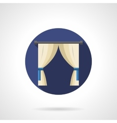 Indoor curtains round flat icon vector image
