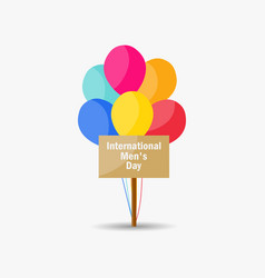 international mens day a sign and balloons vector image