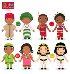 kids in different traditional costumes nigeria vector image