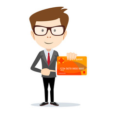 Man in suit shows plastic card vector