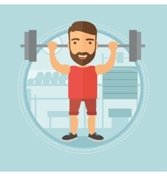 Man lifting barbell in the gym vector