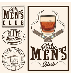 Mens club vintage labels with cigars and whiskey vector