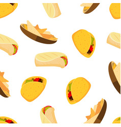 mexican food tacos burrito and nachos vector image