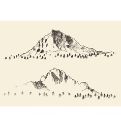Mountains sketch contours engraving drawn vector image vector image