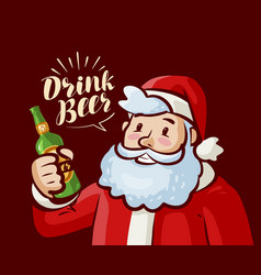 santa claus with bottle of beer in hand christmas vector image vector image