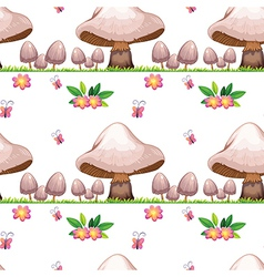 Seamless design with mushrooms and butterflies vector image vector image