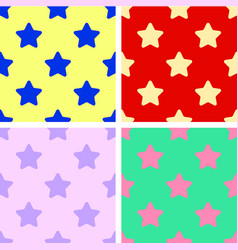 set of background seamless patterns colorful stars vector image vector image