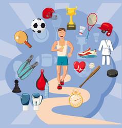 sportsman items concept cartoon style vector image