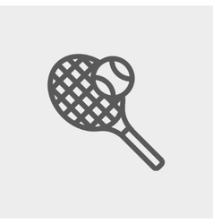 Tennis racket and ball thin line icon vector