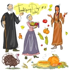 Thanksgiving day hand drawn collection set 3 vector