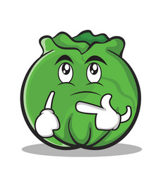 thinking cabbage cartoon character style vector image vector image