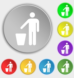 Throw away the trash icon sign symbol on five flat vector