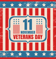 Vintage poster for veterans day vector