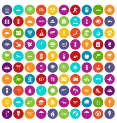 100 sun icons set color vector