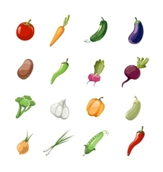 Vegetables cartoon icons vector