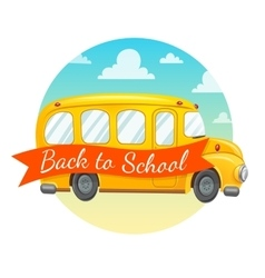 Yellow school bus and text vector