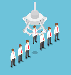 Isometric robotic claw picking up businessman vector