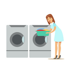 Woman taking out clean laundry part of people vector
