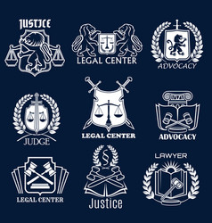 Advocacy icons set for legal justice lawyer vector