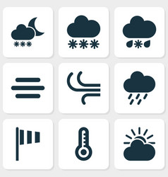 Meteorology icons set collection of breeze haze vector