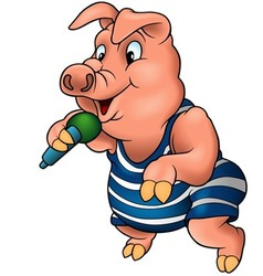 Pig with microphone vector