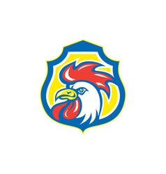 Chicken rooster head mascot shield retro vector