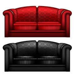 Red and black leather sofa vector