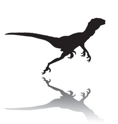 Silhouette of a running dinosaur vector