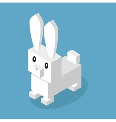 Wild animal hare rabbit isometric 3d design vector