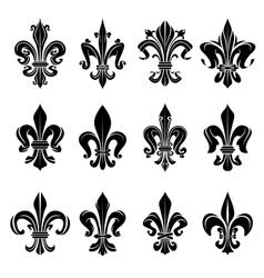 Black medieval royal fleur-de-lis symbols vector image