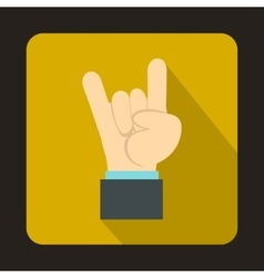 Rock and roll hand sign icon flat style vector