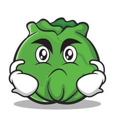 angry cabbage cartoon character style vector image