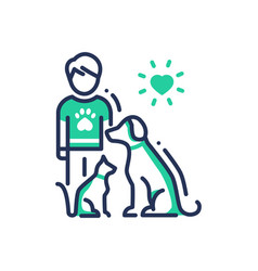 Animals help - modern line design single vector