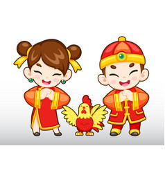 Chinese boy and girl rooster vector