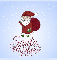 christmas card with santa claus and hand vector image vector image