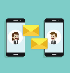 concept of a mobile email or chats of people via vector image