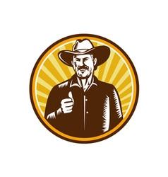 Cowboy thumbs up sunburst circle woodcut vector