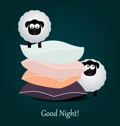 Cute cartoon sheeps and color pillows good night vector