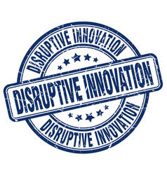 Disruptive innovation blue grunge stamp vector
