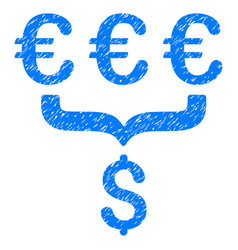 Euro dollar conversion aggregator grunge icon vector
