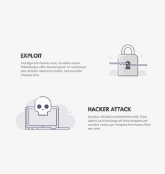 Exploit and hacker attack cyber security concept vector
