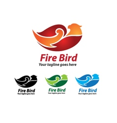 Fire Bird Logo Design Fire Bird Icon vector image vector image
