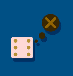 Flat icon design collection dice and x mark in vector