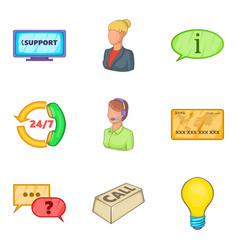 Help desk icons set cartoon style vector
