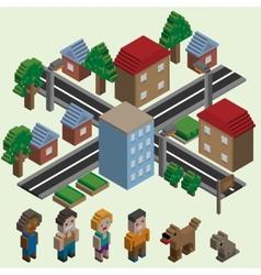 Isometric pixel city vector