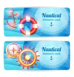 Marine horizontal banners set vector image