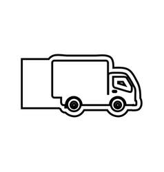 monochrome contour emblem with truck vector image vector image